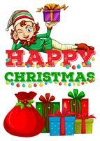 Thème de Noël avec elfe et cadeaux vecteur