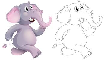 Doodle animal pour éléphant vecteur