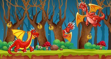 Dragon rouge dans la forêt de conte de fées vecteur