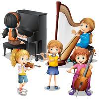 Beaucoup d'enfants jouant de la musique classique vecteur