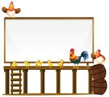 Modèle de conseil avec des poulets et des barils