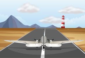 Avion sur la piste qui décolle vecteur