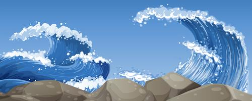 Grosses vagues sur les rochers vecteur