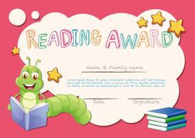 Modèle de certificat pour le prix de lecture