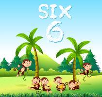 Six singes dans la nature vecteur
