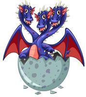 Dragon à trois têtes dans un oeuf gris vecteur