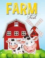 Scène de ferme avec deux vaches vecteur