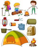 Ensemble de camping avec campeurs et tente vecteur