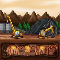 Un paysage de mines de charbon vecteur
