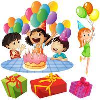 Enfants à la fête d'anniversaire avec des ballons et des cadeaux vecteur