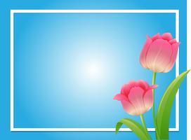 Modèle de cadre avec tulipe rose vecteur