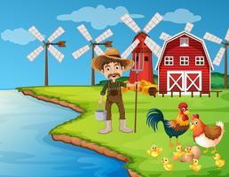 Scène de ferme avec fermier et poulets vecteur
