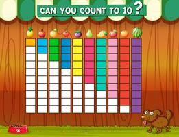 Compter jusqu'à dix avec des fruits différents vecteur
