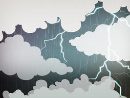 Fond de ciel avec pluie et tonnerre vecteur