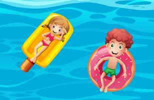 Enfants sur les flotteurs de la piscine vecteur