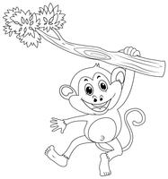 Contour d'animaux pour singe sur une branche vecteur