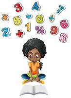 Petite fille étudie les mathématiques vecteur