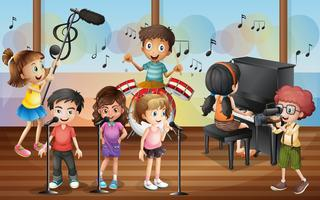 Garçon tir amis chantant dans le concert vecteur