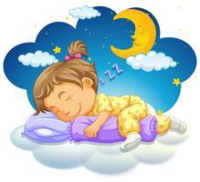 Petite fille endormie la nuit vecteur