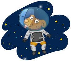 Chien astronaute dans l'espace vecteur