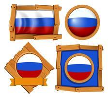 Drapeau de la Russie sur différentes images vecteur
