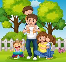 Journée en famille dans le parc vecteur