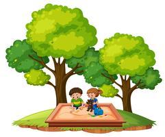 Enfants dans le bac à sable vecteur