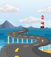 Route courbe à travers l'océan