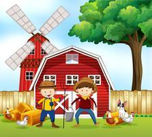 Scène avec deux fermiers et animaux vecteur