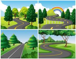 Quatre scènes de routes dans le parc