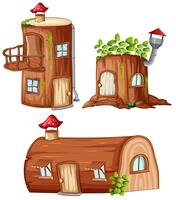 Ensemble de maison en bois enchantée vecteur