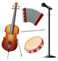 Différents types d'instruments de musique