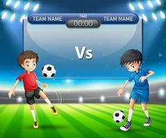 Match de football avec concept de joueurs vecteur