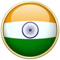 Drapeau indien sur badge rond vecteur
