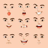 Différentes expressions faciales de l'homme vecteur