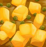 Un plat de curry jaune de près