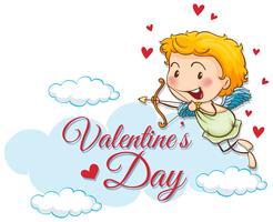 Modèle de carte Valentine avec cupidon mignon vecteur