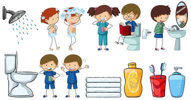 Enfants faisant différentes activités de routine vecteur