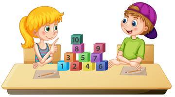 Enfants apprenant le numéro de maths vecteur