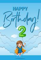 Carte d'anniversaire avec fille et numéro deux