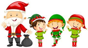Père Noël et lutins pour Noël vecteur