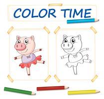 Modèle de coloration avec le cochon en robe de ballet