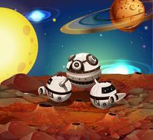 Vaisseau spatial sur la lune vecteur