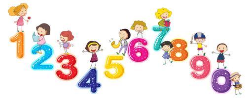 Compter les chiffres avec les petits enfants vecteur