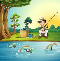 Homme pêchant au bord de la rivière vecteur