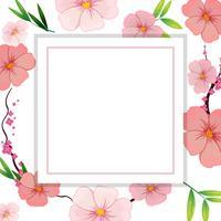 Modèle de belle fleur d'hibiscus rose vecteur