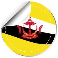 Conception du drapeau Brunie sur un autocollant rond vecteur