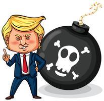 Le président américain Trump avec une bombe vecteur