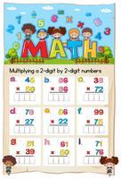Feuille de calcul mathématique pour multiplier deux chiffres par deux chiffres