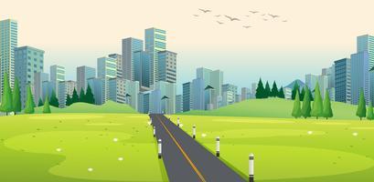 Scène de fond avec la route de la ville vecteur